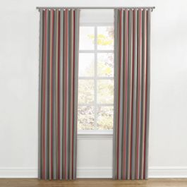 Red Blue Tan Stripe Ripplefold Curtains Close Up