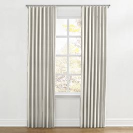 Gray Awning Stripe Ripplefold Curtains Close Up