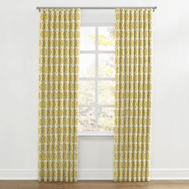 Bright Yellow Trellis Ripplefold Curtains Close Up