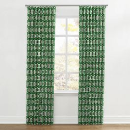 Emerald Green Trellis Ripplefold Curtains Close Up