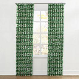 Emerald Green Trellis Ripplefold Curtains Close Up