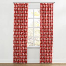 Coral Red Trellis Ripplefold Curtains Close Up
