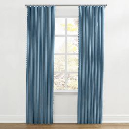 Bright Blue Thin Stripe Ripplefold Curtains Close Up