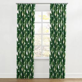Green Banana Leaf Ripplefold Curtains Close Up