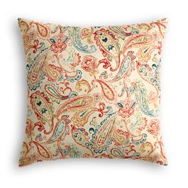 Multicolor Red Paisley Pillow