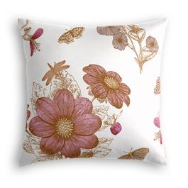 Sketched Pink Floral Pillow