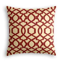 Flocked Tan & Red Trellis Pillow
