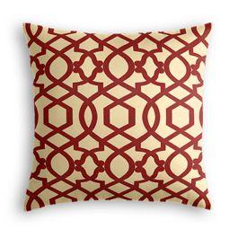 Flocked Tan & Red Trellis Pillow