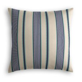 Gray, Teal & Blue Stripe Pillow