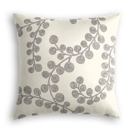 Gray Botanical Swirl Pillow