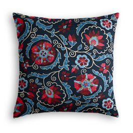 Red & Navy Blue Suzani Pillow
