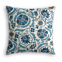 Beige & Blue Suzani Pillow