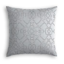 Cool Gray Trellis Scroll Pillow