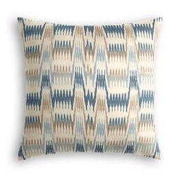 Tan & Blue Flame Stitch Pillow