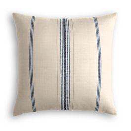 Blue Burlap-Style Stripe Pillow