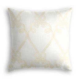Embroidered White Scroll Pillow