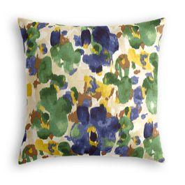 Green & Blue Watercolor Pillow