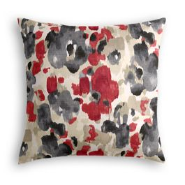 Gray & Red Watercolor Pillow