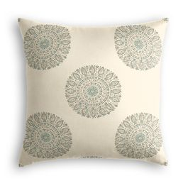 Aqua Medallion Block Print Pillow
