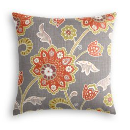 Coral & Gray Floral Pillow