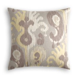 Pastel Yellow & Gray Ikat Pillow