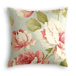 Aqua & Pink Rose Pillow