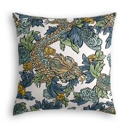 Aqua Chinoiserie Dragon Pillow