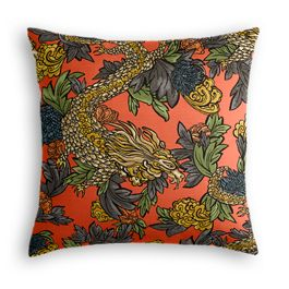 Red Chinoiserie Dragon Pillow
