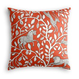 Red Animal Motif Pillow