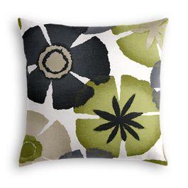Modern Gray & Green Floral Pillow