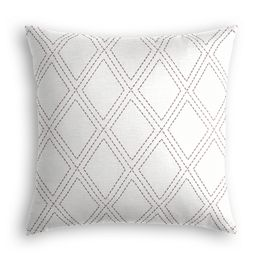Embroidered Gray Diamond Pillow