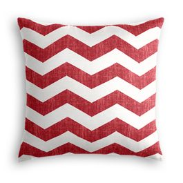 White & Red Chevron Pillow