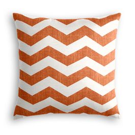White & Orange Chevron Pillow