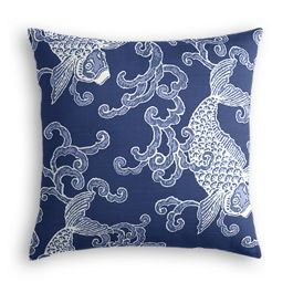 Royal Blue Koi Fish Pillow