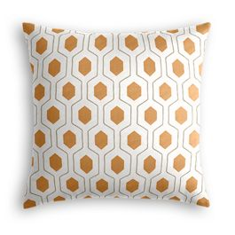 Beige & Orange Hexagon Pillow