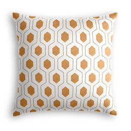 Beige & Orange Hexagon Pillow
