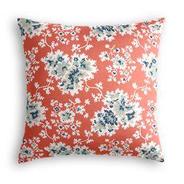 Blue & Pink Coral Leaf Pillow