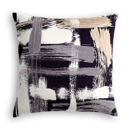 Black & White Brushstrokes Pillow