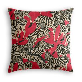 Black, White & Red Zebra Pillow