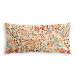 Multicolor Red Paisley Lumbar Pillow