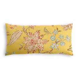 Delicate Yellow Floral Lumbar Pillow