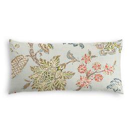 Delicate Aqua Blue Floral Lumbar Pillow