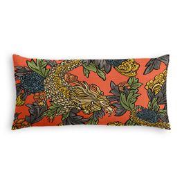 Red Chinoiserie Dragon Lumbar Pillow
