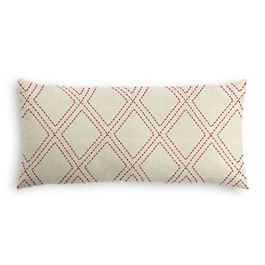 Embroidered Red Diamond Lumbar Pillow