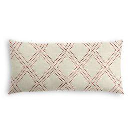 Embroidered Red Diamond Lumbar Pillow