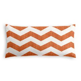 White & Orange Chevron Lumbar Pillow