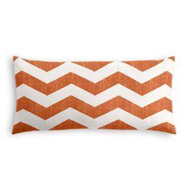 White & Orange Chevron Lumbar Pillow