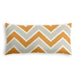 Tan & Orange Chevron  Lumbar Pillow