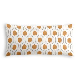 Beige & Orange Hexagon Lumbar Pillow