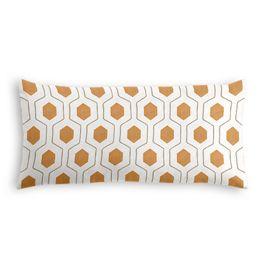 Beige & Orange Hexagon Lumbar Pillow
